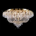 Regal Design 21-Light 36'' Gold or Chrome Ceiling Flush Mount Dressed with European or Swarovski Crystals SKU# 10708