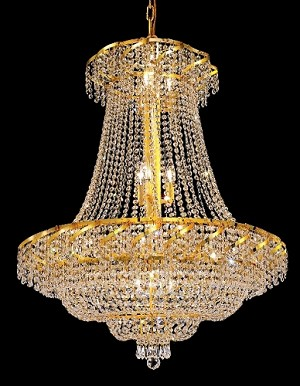 "Regal Design 18-Light 38"" Chrome or Gold Chandelier with European or Swarovski Crystals SKU# 37412"