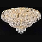 Regal Design 10-Light 26'' Gold or Chrome Ceiling Flush Mount Dressed with European or Swarovski Crystals SKU# 10706