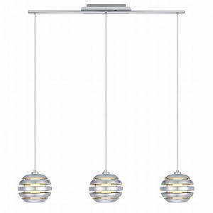 "Mercur Collection 3-Light 40"" Brushed Aluminum Trestle Hanging Light 88295A"