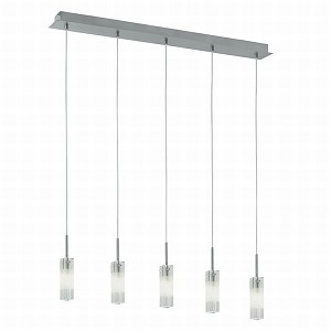 "Alessa Collection 5 Light 34"" Matte Nickel Trestle Hanging Light 88847A"