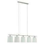 "Cavalla Collection 5 Light 39"" Matte Nickel Trestle Hanging Light 89472A"