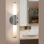 "Palmera Collection 2-Light 18"" Chrome Tube Bathbar with Frosted Glass 87219A"