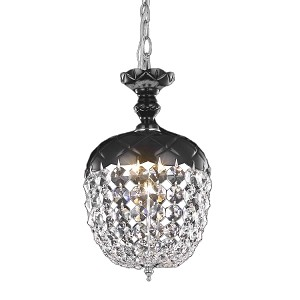 "Rococo Collection 1-Light 13"" Jet Black Mini Pendant Chandelier with Crystal 7801D8B/RC"