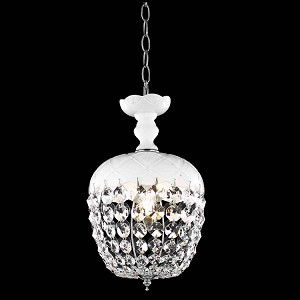 "Rococo Collection 1-Light 13"" White Mini Crystal Pendant Chandelier 7801D8WH/RC"