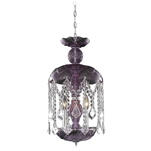 "Rococo Collection 3-Light 20"" Purple Mini Crystal Pendant Chandelier 7803D11PE/RC"