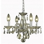 "Rococo Collection 4-Light 15"" Golden Shadow Crystal Mini Chandelier 7804D15GS-GS/RC"