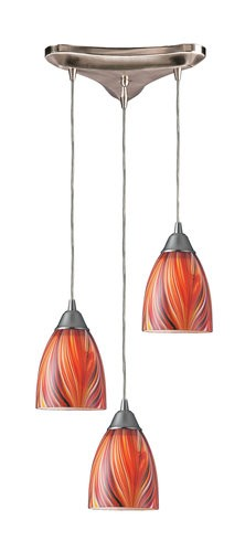 "Arco Baleno Collection 3-Light 10"" Multicolor Hand Blown Glass Multi-Pendant 416-3M"
