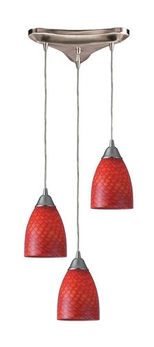 "Arco Baleno Collection 3-Light 5"" Scarlet Red Hand Blown Glass Multi-Pendant 416-3SC"