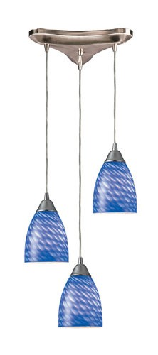 "Arco Baleno Collection 3-Light 10"" Sapphire Hand Blown Glass Multi-Pendant 416-3S"