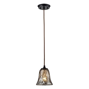"Darien Collection 1-Light 7"" Oiled Bronze Mini Pendant with Crackle Glass 46000/1"