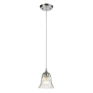"Darien Collection 1-Light 7"" Polished Chrome Mini Pendant with Crackle Glass 46010/1"