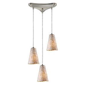 "Capri Collection 3-Light 11"" Mosaic Cappa Shell Multi-Pendant System 10142/3"