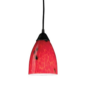 "Classico Collection 1-Light 5"" Dark Rust Mini Pendant with Fire Red Glass 406-1FR"