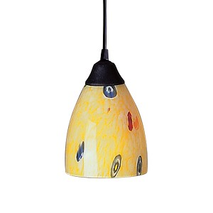"Classico Collection 1-Light 5"" Dark Rust Mini Pendant with Yellow Blaze Glass 406-1YW"