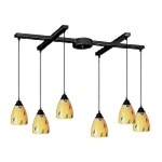 "Classico Collection 6-Light 33"" Dark Rust Linear Pendant with Yellow Blaze Glass 406-6YW"