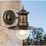 "Maritime Collection 1-Light 10"" Hazelnut Bronze Outdoor Wall Sconce with Seeded Blown Glass 42005/1"