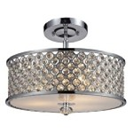 "Genevieve Collection 3-Light 16"" Polished Chrome Semi-Flush Mount with Crystal 31101/3"