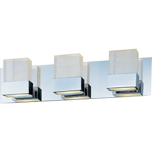 "Fizz Collection 3-Light 22"" Polished Chrome Bathroom Vanity Fixture with Etched Bubble Glass E22733-89PC"
