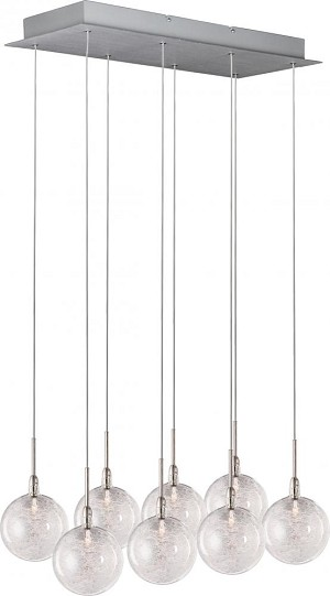 "Starburst Collection 8-Light 23.5"" Satin Nickel / Polished Chrome Pendant and Threaded Glass E20107-79"
