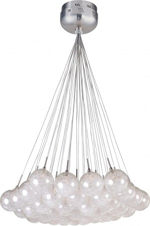 "Starburst Collection 37-Light 33"" Satin Nickel / Polished Chrome Pendant and Threaded Glass E20112-79"