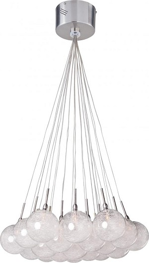 "Starburst Collection 19-Light 20"" Satin Nickel / Polished Chrome Pendant and Threaded Glass E20113-79"