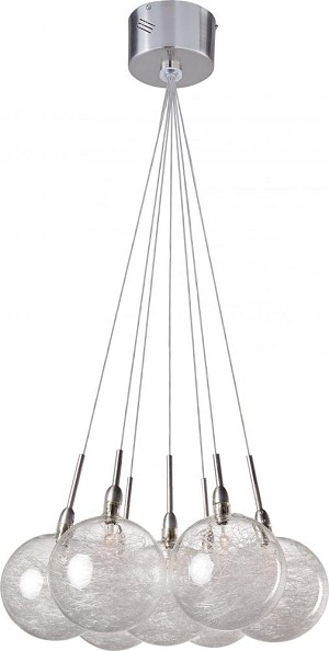 "Starburst Collection 7-Light 12"" Satin Nickel / Polished Chrome Pendant and Threaded Glass E20114-79"