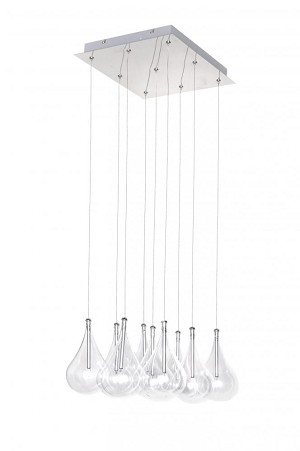 "Larmes Collection 9-Light 12"" Polished Chrome Square Pendant with Clear Glass E20116-18"