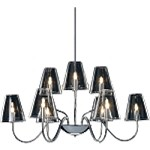 "Chic Collection 9-Light 27"" Polished Chrome Chandelier and Clear Glass E20293-10"