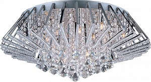 "Zen Collection 20-Light 27.25"" Polished Chrome Flush Mount and Crystal Glass E20402-20PC"