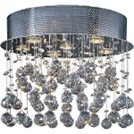 "Cascada Collection 6-Light 18"" Polished Chrome Flush Mount and Crystal Glass E20791-20"