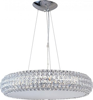 "Bijou Collection 8-Light 21"" Polished Chrome Pendant and Crystal Glass E21804-20PC"