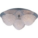 "Blossom Collection 3-Light 11"" Polished Chrome Flush Mount and Crystal Glass E23001-20PC"
