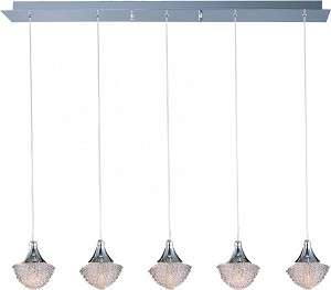 "Blossom Collection 5-Light 33.5"" Polished Chrome Pendant and Crystal Glass E23005-20PC"