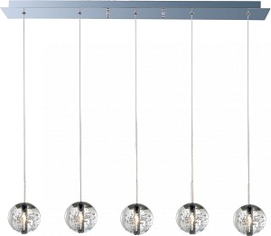 "Orb Collection 5-Light 33.75"" Polished Chrome Pendant and Crystal Bubble Glass E24257-91PC"