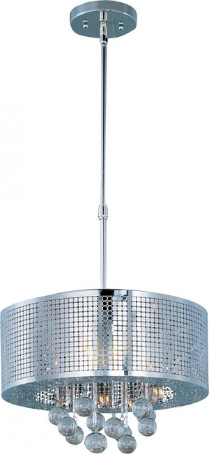 "Illusion Collection 5-Light 16"" Polished Chrome Pendant and Crystal Bubble Glass E24386-91PC"