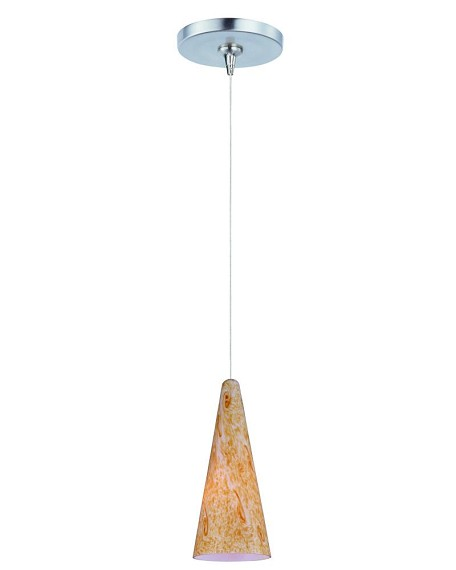 "Minx Collection 1-Light 10"" Satin Nickel Mini Pendant and Gold Lava Glass E94430-103SN"