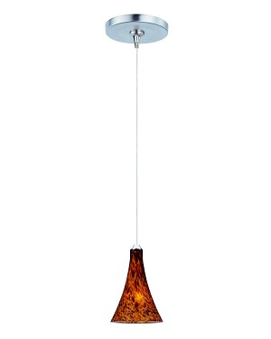 "Minx Collection 1-Light 7.5"" Satin Nickel Mini Pendant and Amber Leopard Glass E94431-104SN"