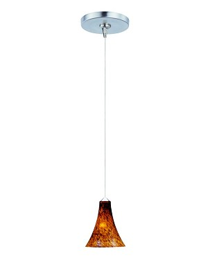 "Minx Collection 1-Light 7.5"" Satin Nickel Mini Pendant and Amber Leopard Glass E94433-104SN"