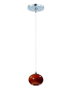 "Minx Collection 1-Light 6.5"" Satin Nickel Mini Pendant and Amber Cloud Glass E94435-106SN"