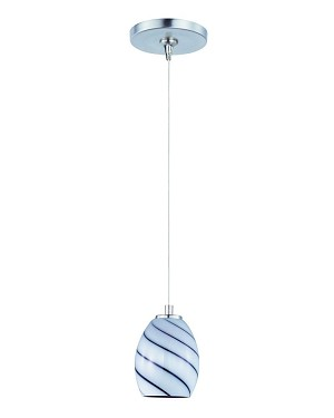 "Minx Collection 1-Light 7.5"" Satin Nickel Mini Pendant and Grape Swirl Glass E94437-108SN"