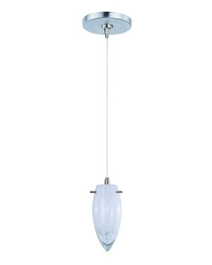 "Minx Collection 1-Light 7"" Satin Nickel Mini Pendant and White Cirrus Glass E94441-113SN"