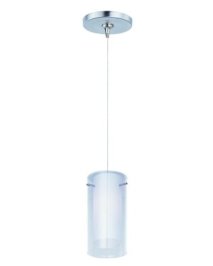 "Minx Collection 1-Light 7"" Satin Nickel Mini Pendant and Clear/White Glass E94444-10SN"