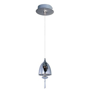 "Minx Collection 1-Light 11"" Satin Nickel Mini Pendant and Matte White Glass E94526-11SN"