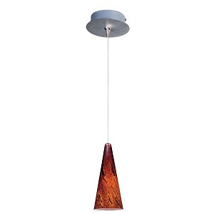 "Minx Collection 1-Light 10"" Satin Nickel Mini Pendant and Amber Lava Glass E94529-102SN"