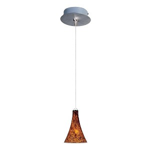 "Minx Collection 1-Light 7.5"" Satin Nickel Mini Pendant and Amber Leopard Glass E94531-104SN"