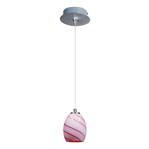 "Minx Collection 1-Light 7.5"" Satin Nickel Mini Pendant and Cherry Swirl Glass E94536-107SN"