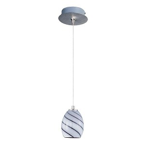 "Minx Collection 1-Light 7.5"" Satin Nickel Mini Pendant and Grape Swirl Glass E94537-108SN"
