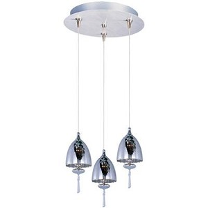 "Minx Collection 3-Light 11.75"" Satin Nickel Pendant and Mirror Chrome Glass E94627-81SN"