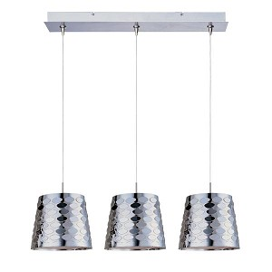 "Minx Collection 3-Light 24.25"" Satin Nickel Linear Pendant and Crystal Glass E94802-20SN"